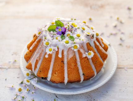 Easter yeast cake (Babka) covered with icing and decorated with edible flowers on a white plate on a white wooden table.